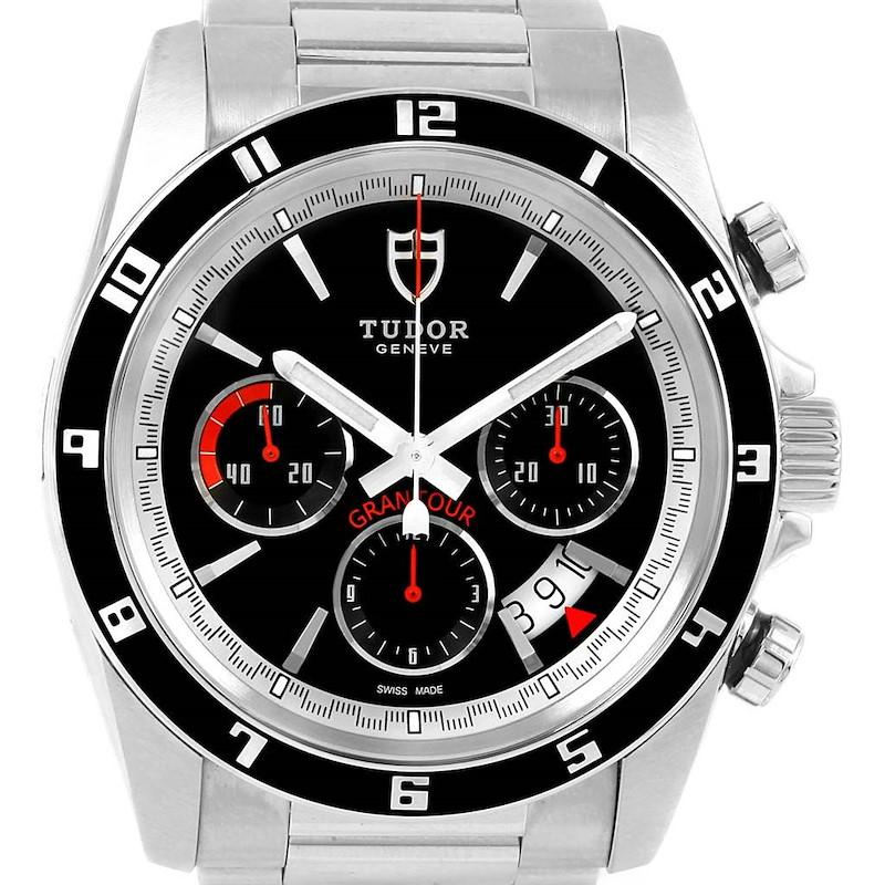 Tudor Grantour Black Dial Chronograph Steel Watch 20530N Unworn SwissWatchExpo