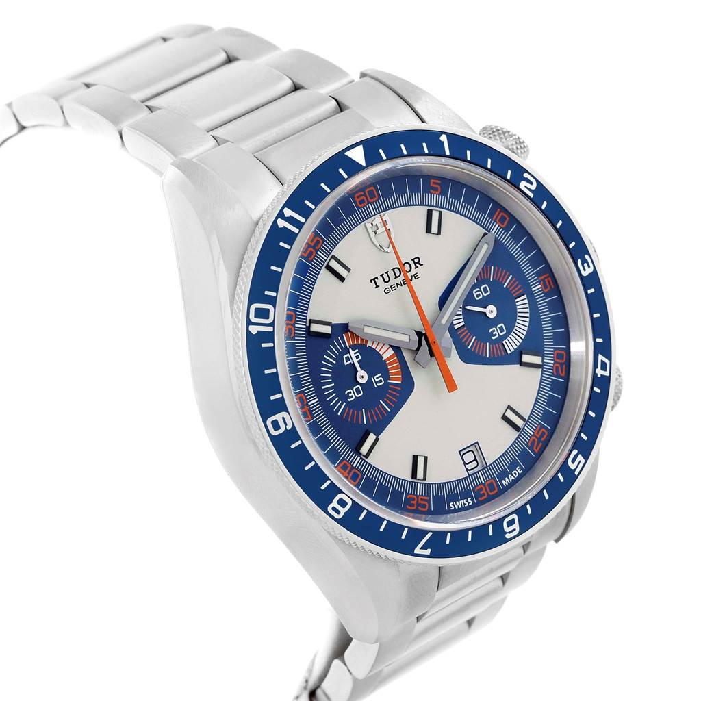 16985 Tudor Heritage Chrono Blue Stainless Steel Mens Watch 70330 Box Card SwissWatchExpo