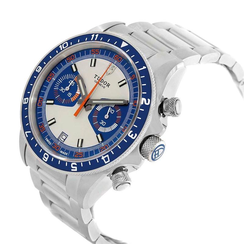 Tudor Heritage Chrono Blue Stainless Steel Mens Watch 70330 Box Card SwissWatchExpo