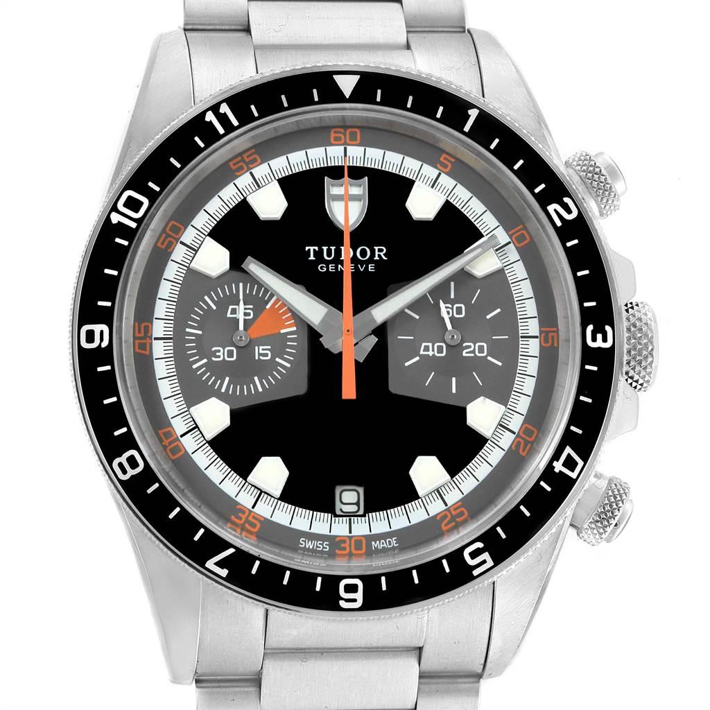 Tudor Heritage Chrono Black Grey Dial Mens Watch 70330N Box Card SwissWatchExpo