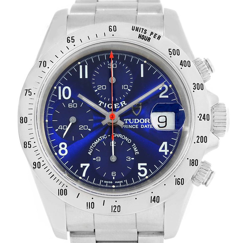 Tudor Tiger Woods Chrono Blue Dial Steel Mens Watch 79280 SwissWatchExpo