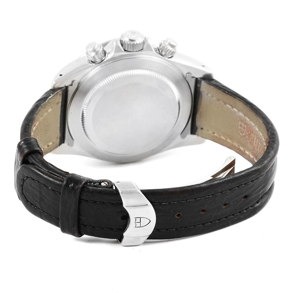 11034 Tudor Tiger Woods Prince Date Black Dial Leather Strap Mens Watch 79260 SwissWatchExpo