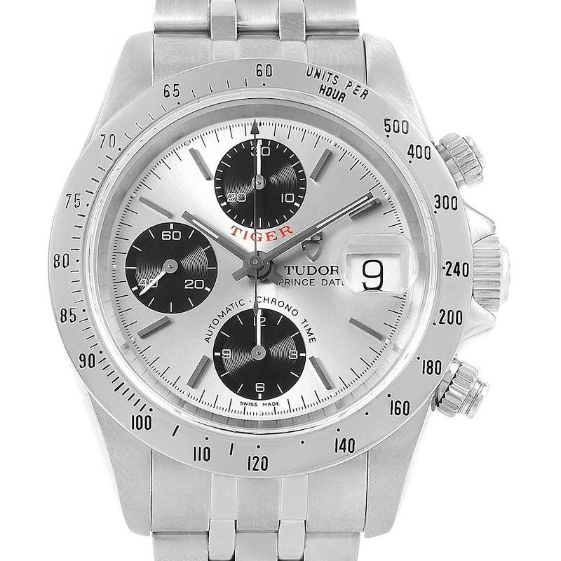Tudor Prince Tiger Woods Chrono Silver Vertical Panda Dial Watch 79280 SwissWatchExpo