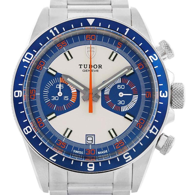 Tudor Heritage Chrono Blue Stainless Steel Mens Watch 70330 Card SwissWatchExpo