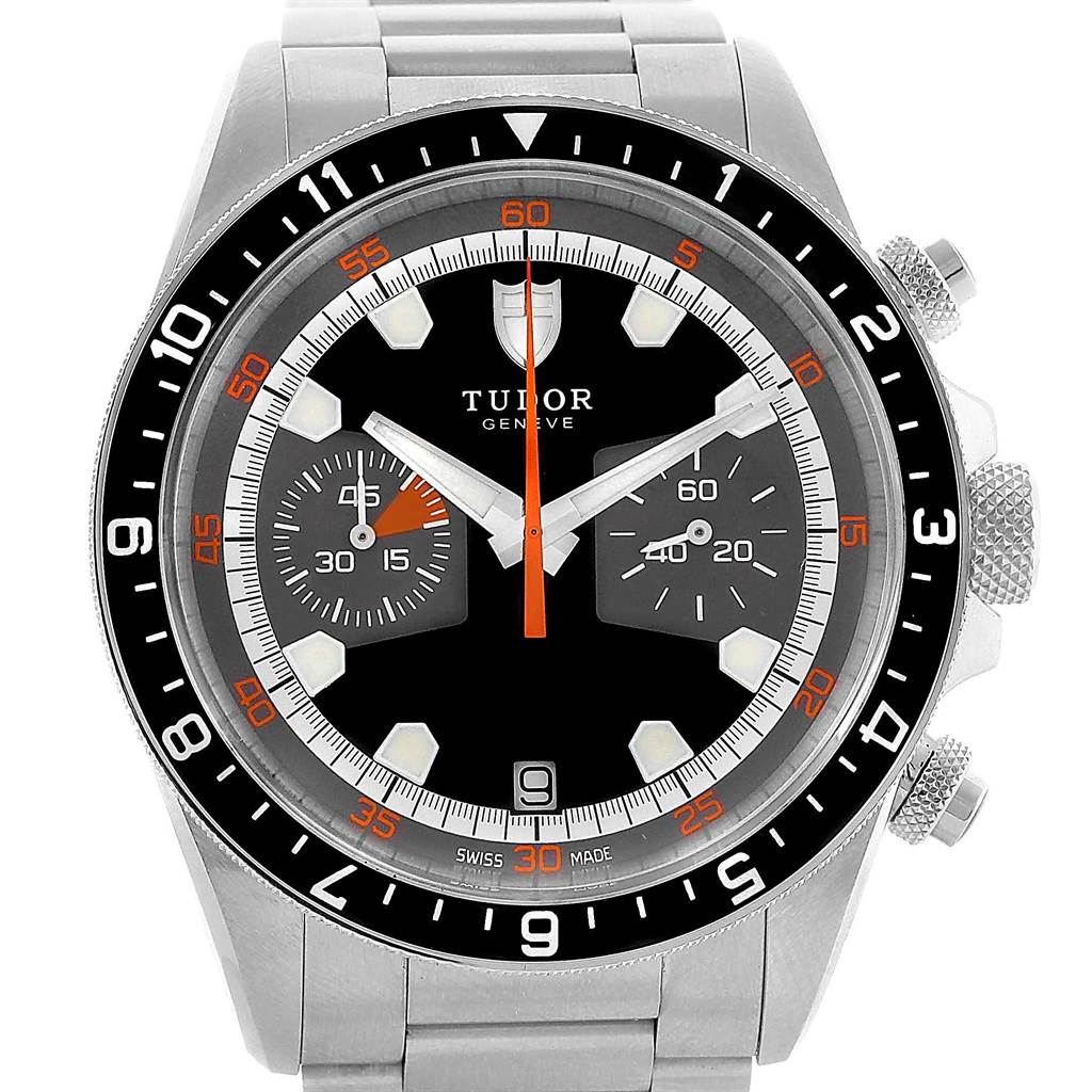 18238 Tudor Heritage Chrono Black Grey Dial Mens Watch 70330N Card SwissWatchExpo