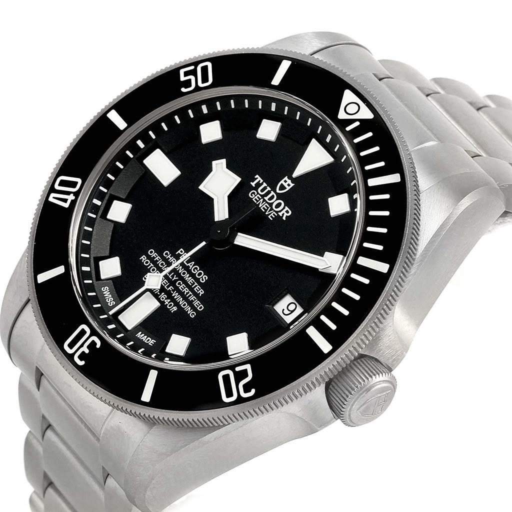 18574 Tudor Pelagos Black Dial Titanium Stainless Steel Mens Watch 25600 SwissWatchExpo