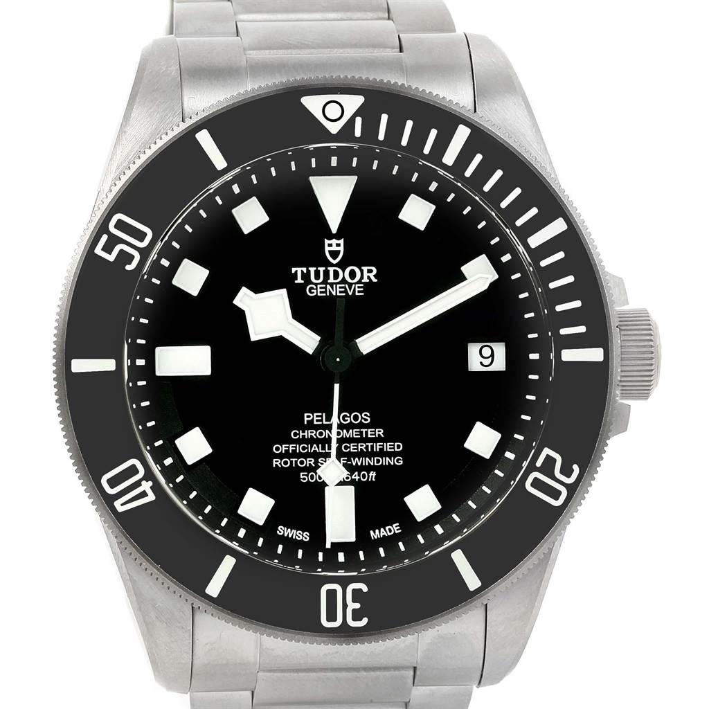 Tudor Pelagos Black Dial Titanium Stainless Steel Mens Watch 25600 SwissWatchExpo