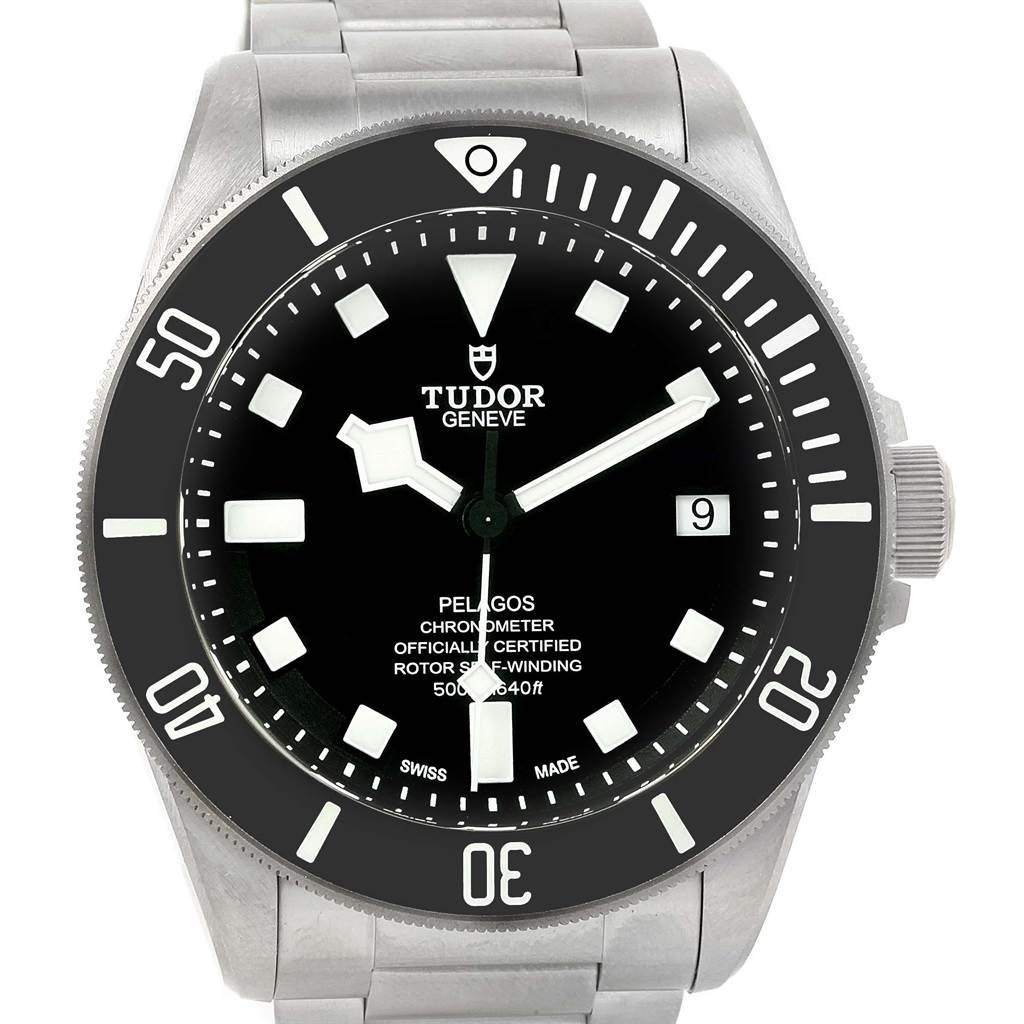 18574 Tudor Pelagos Black Dial Titanium Stainless Steel Mens Watch 25600 SwissWatchExpo