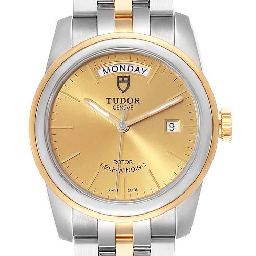 Photo of Tudor Glamour Day Date Steel Yellow Gold Mens Watch 56003