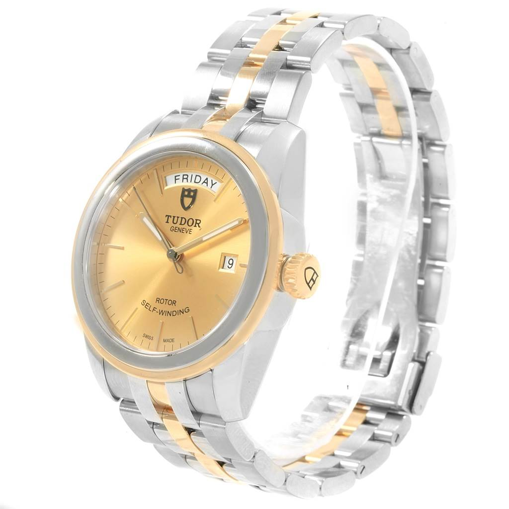 19415 Tudor Glamour Day Date Steel Yellow Gold Mens Watch 56003 SwissWatchExpo