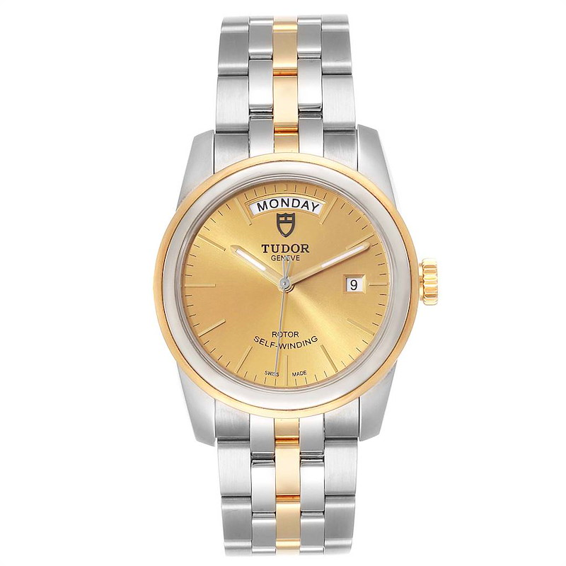 Tudor Glamour Day Date Steel Yellow Gold Mens Watch 56003 SwissWatchExpo