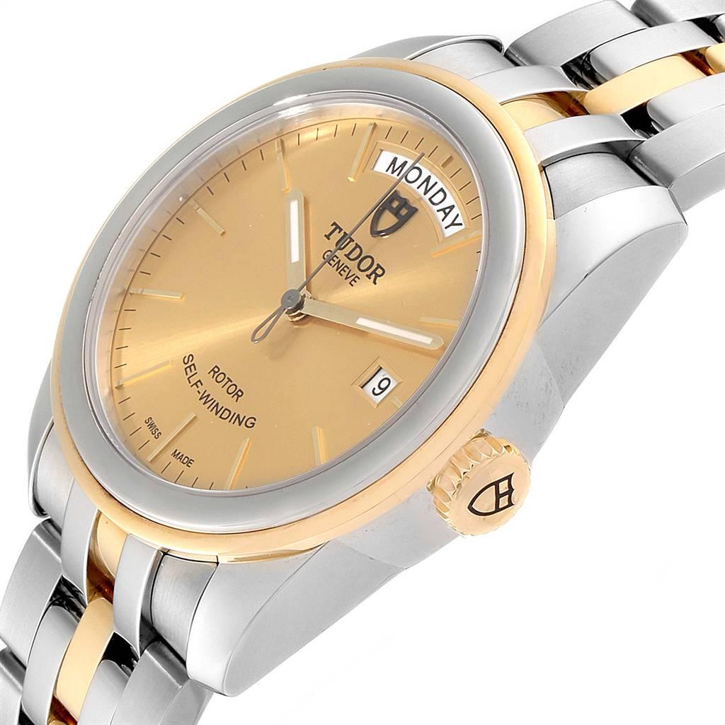 Tudor Glamour Day Date Steel Yellow Gold Mens Watch 56003 SwissWatchExpo