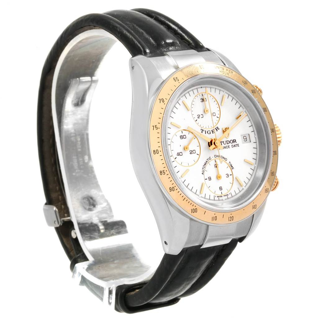 18377 Tudor Tiger Woods Steel Yellow Gold Chronograph Mens Watch 79263 SwissWatchExpo