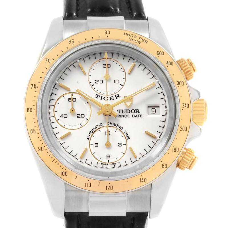 Tudor Tiger Woods Steel Yellow Gold Chronograph Mens Watch 79263 SwissWatchExpo