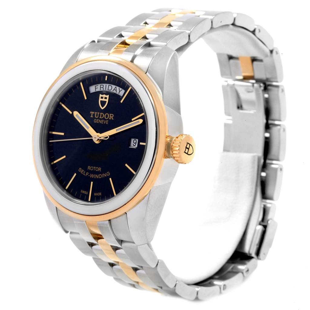 19591 Tudor Glamour Day Date Steel Yellow Gold Mens Watch 56003 Box Papers SwissWatchExpo