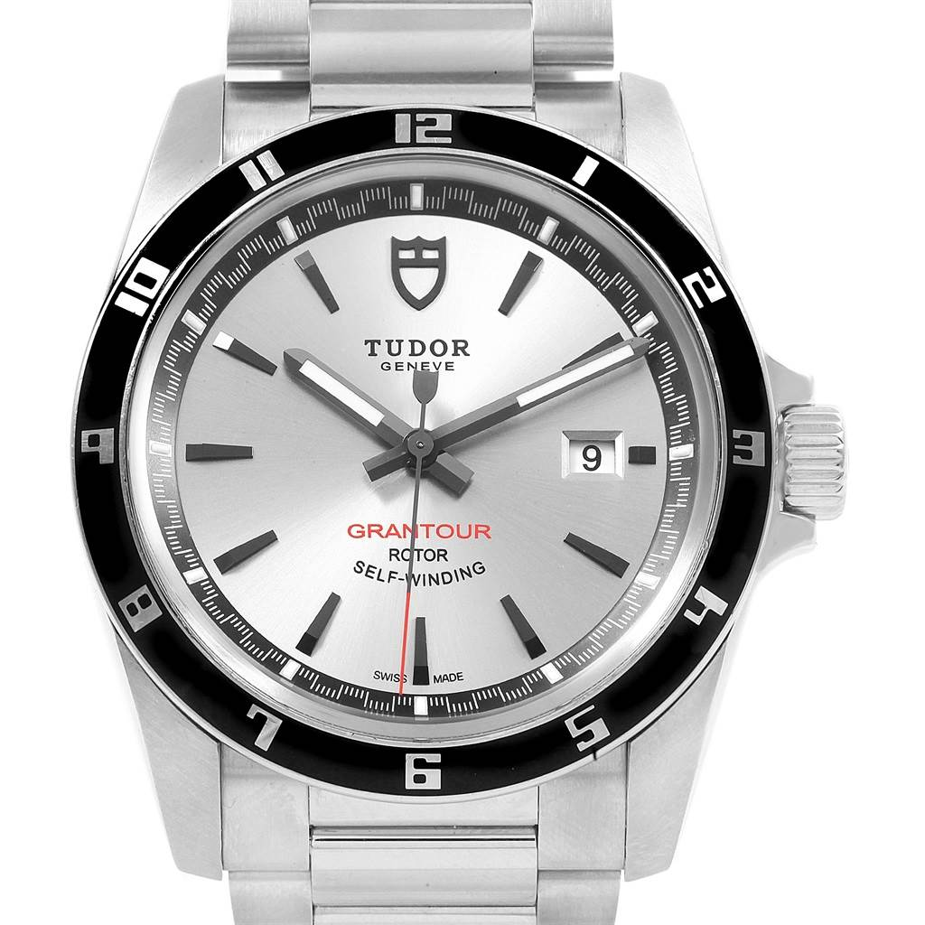 20323 Tudor Grantour Silver Dial Steel Mens Watch 20500N Box Card SwissWatchExpo