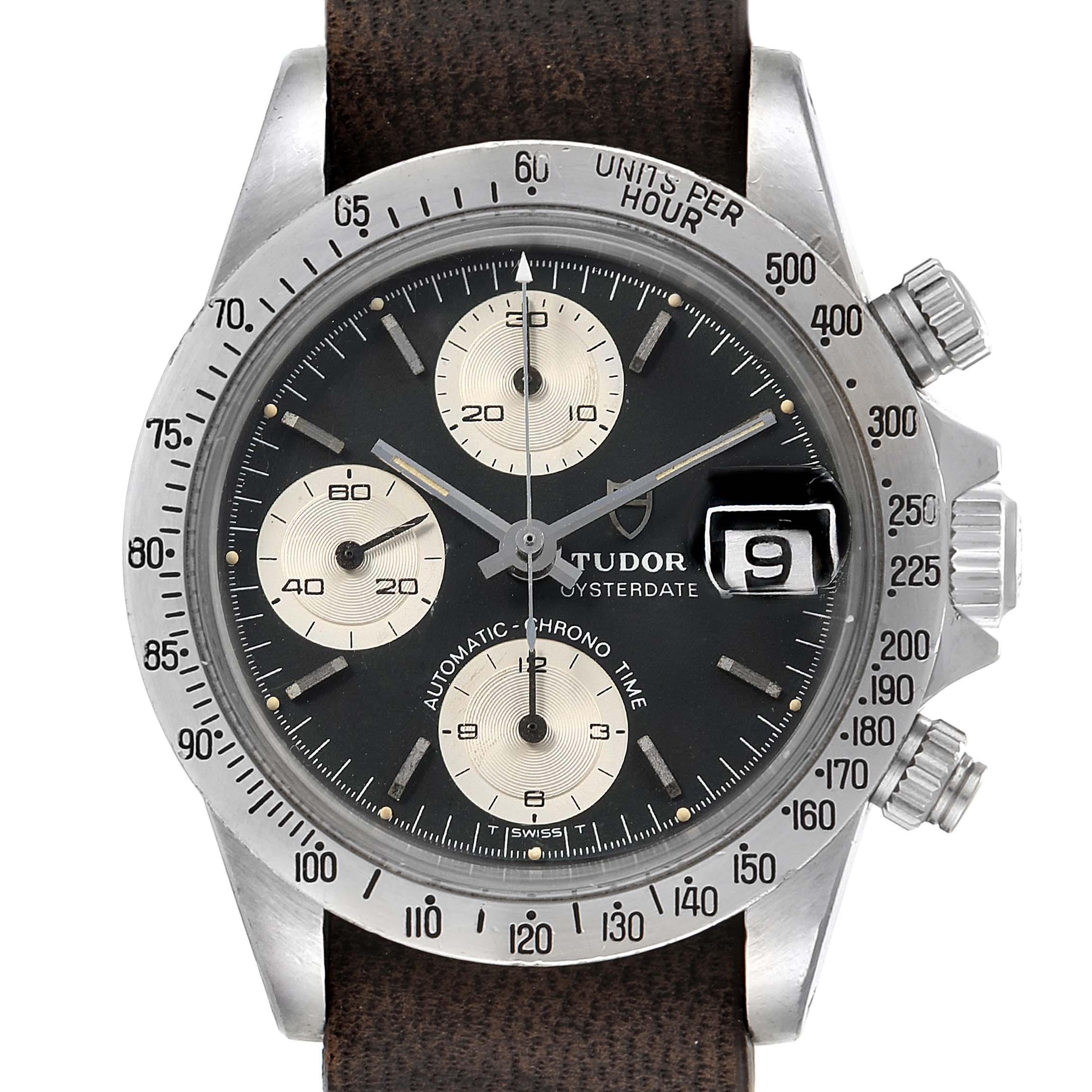 Photo of Tudor Big Block Chronograph Black Dial Steel Vintage Mens Watch 94300