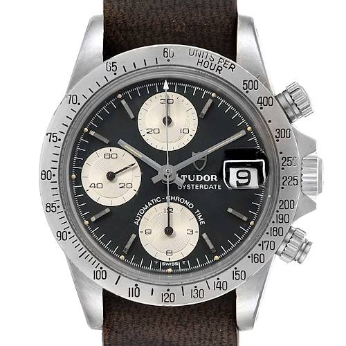 Photo of Tudor Big Block Chronograph Black Dial Steel Vintage Mens Watch 94300