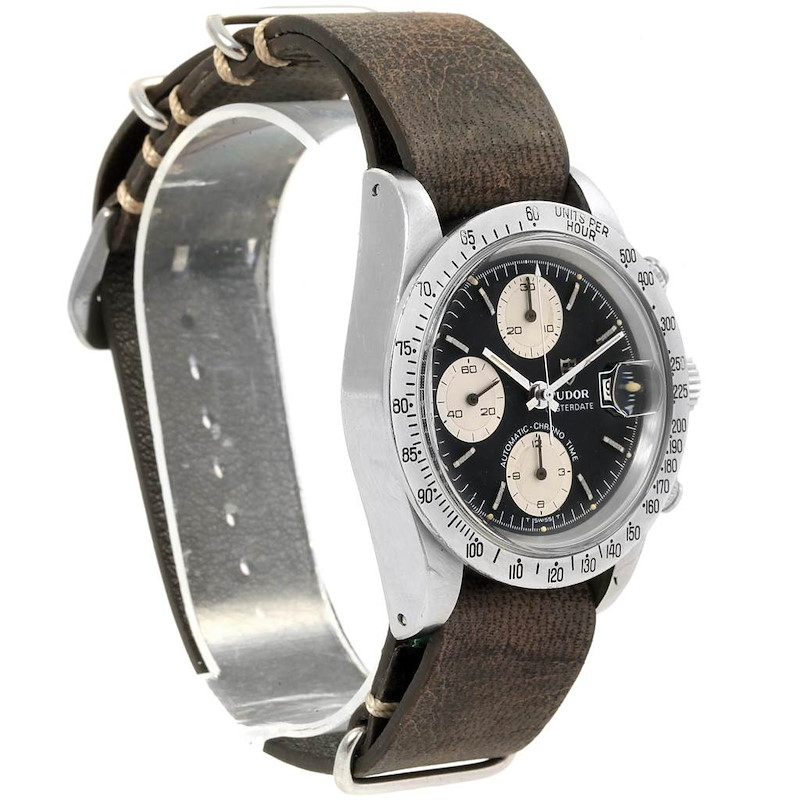 Tudor Big Block Chronograph Black Dial Steel Vintage Mens Watch 94300 SwissWatchExpo