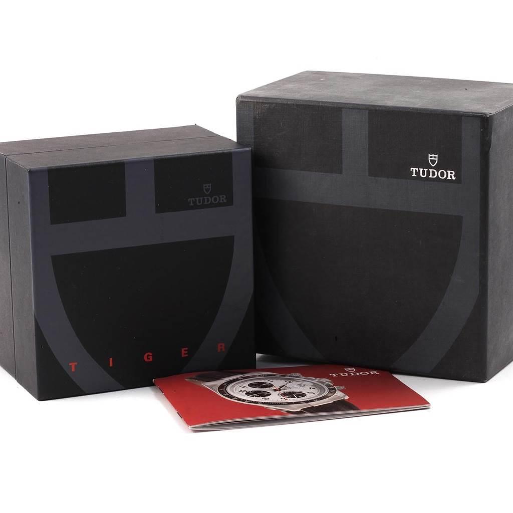 20357 Tudor Tiger Woods Chrono Blue Dial Steel Mens Watch 79280 Box SwissWatchExpo