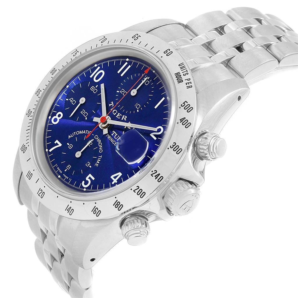 20357 Tudor Tiger Woods Chrono Blue Dial Steel Mens Watch 79280 Box SwissWatchExpo