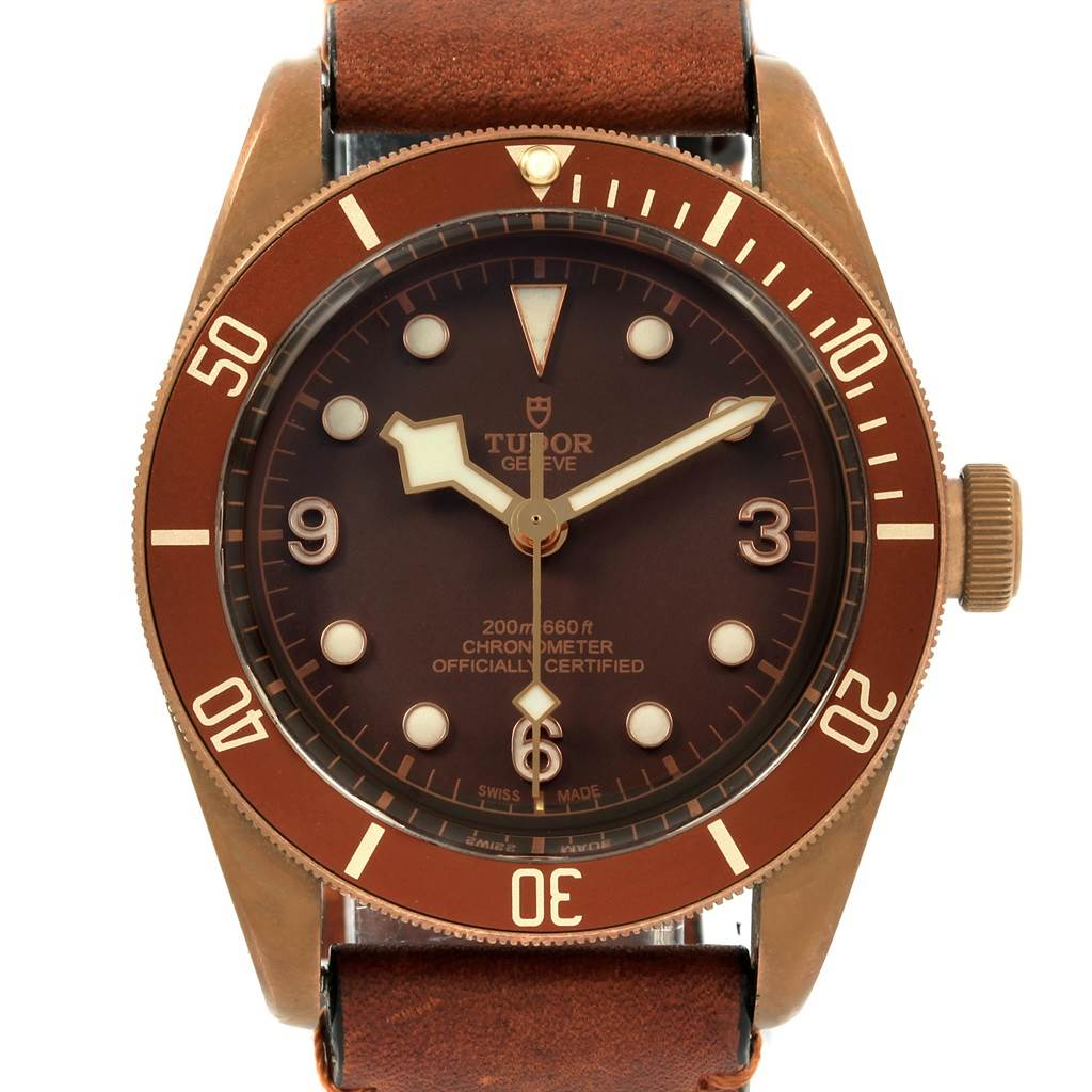 21189 Tudor Heritage Black Bay Automatic Bronze Dial Leather Strap Watch 79250 SwissWatchExpo