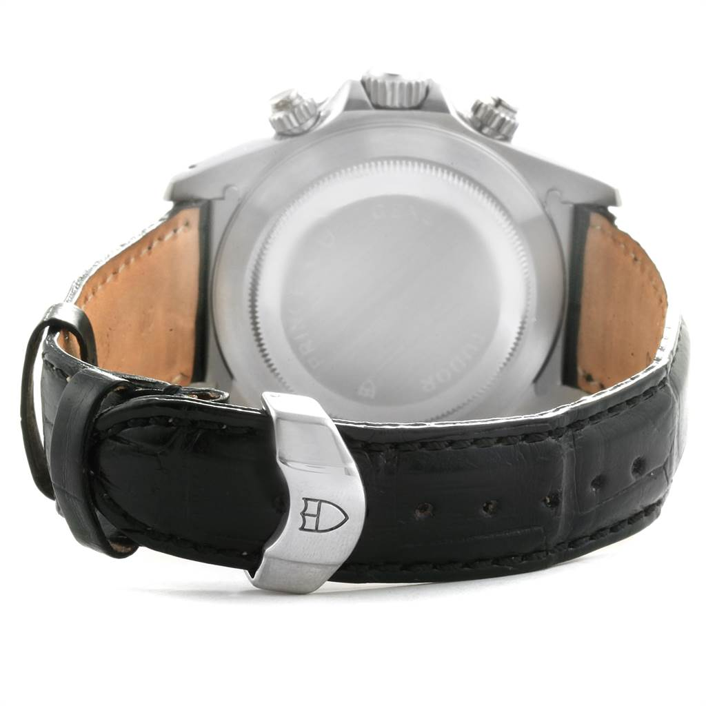 3432X Tudor Tiger Woods Prince Date Black Dial Leather Strap Mens Watch 79270 SwissWatchExpo