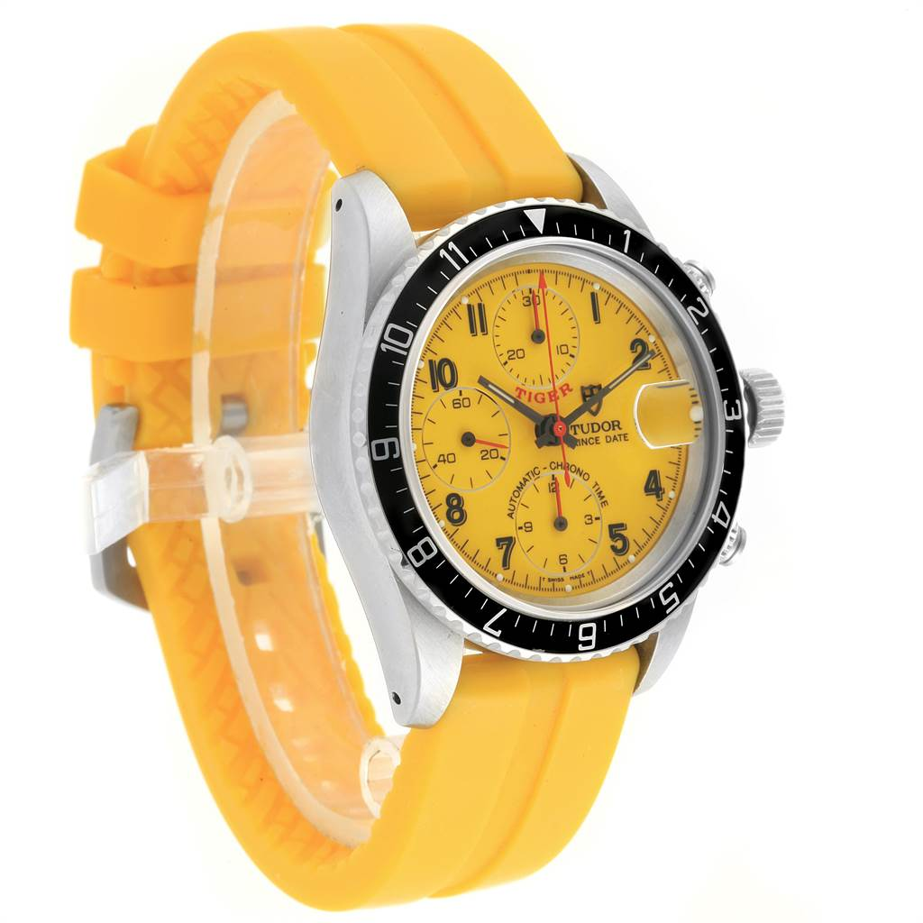 Tudor Tiger Woods Prince Date Yellow Dial Rubber Strap Mens Watch 79270 SwissWatchExpo
