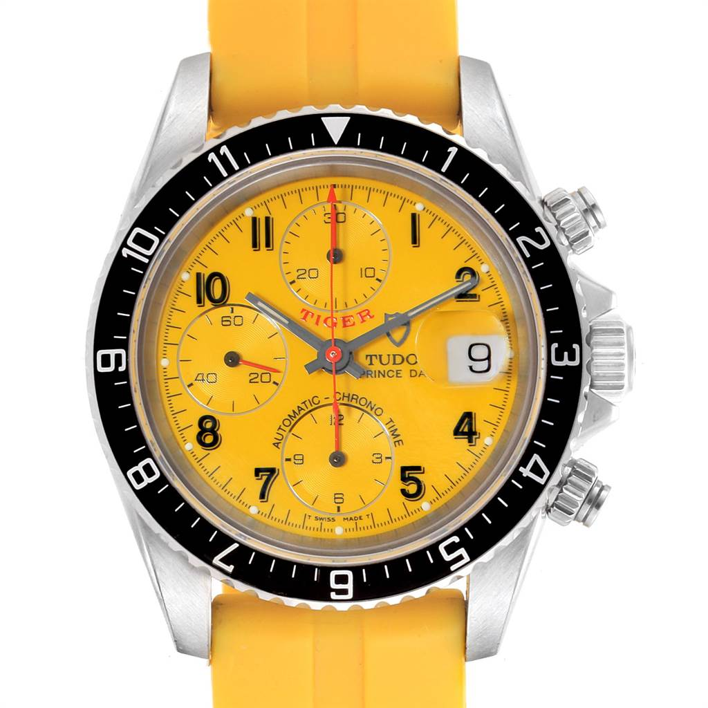 Photo of Tudor Tiger Woods Prince Date Yellow Dial Rubber Strap Mens Watch 79270