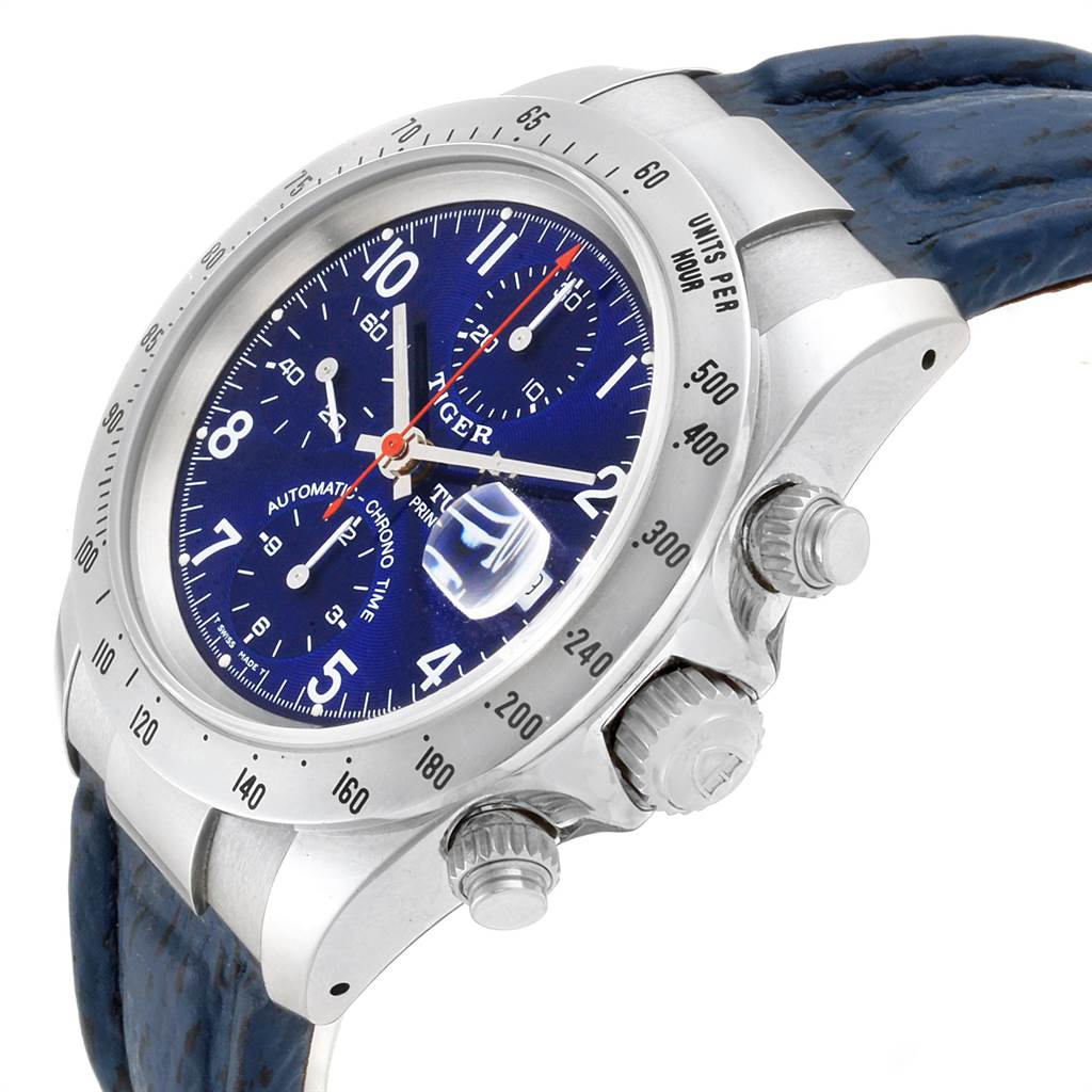 23078 Tudor Tiger Woods Chronograph Blue Dial Steel Mens Watch 79280P SwissWatchExpo