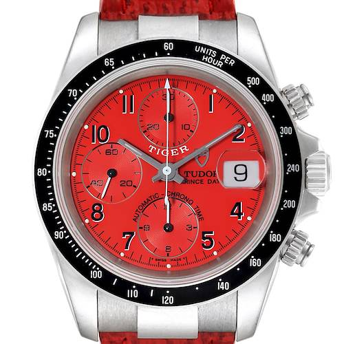 Photo of Tudor Tiger Woods Prince Date Red Dial Leather Strap Mens Watch 79260