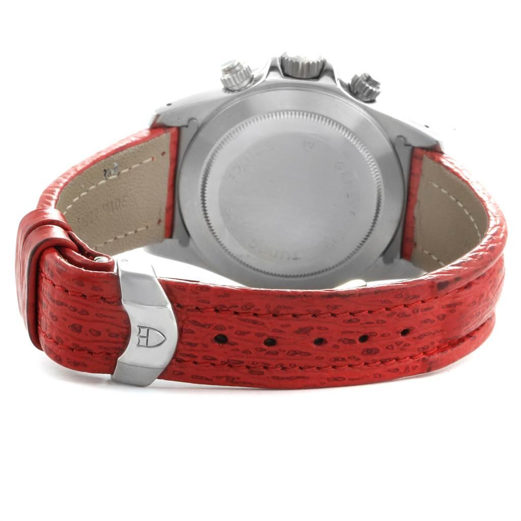 Tudor Tiger Woods Prince Date Red Dial Leather Strap Mens Watch 79260 SwissWatchExpo