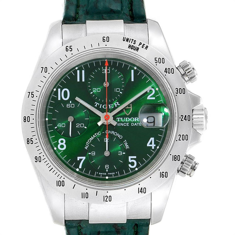 Tudor Tiger Woods Chronograph Green Dial Steel Mens Watch 79280P SwissWatchExpo