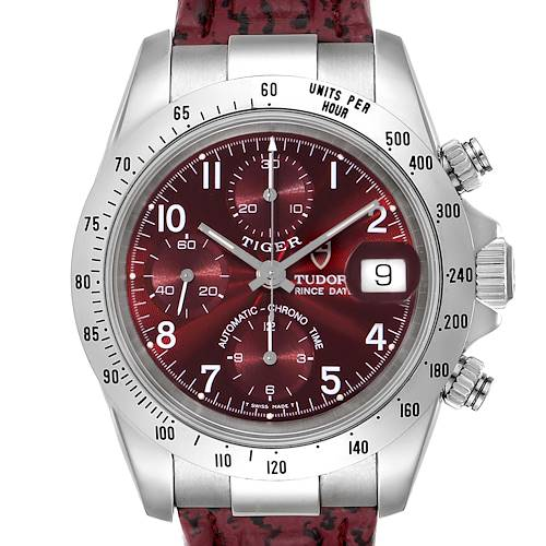 Photo of Tudor Tiger Woods Chronograph Burgundy Dial Steel Mens Watch 79280P