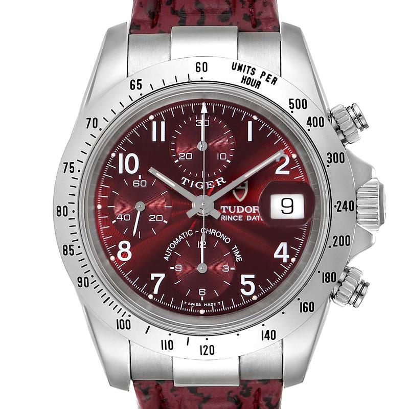 Tudor Tiger Woods Chronograph Burgundy Dial Steel Mens Watch 79280P SwissWatchExpo