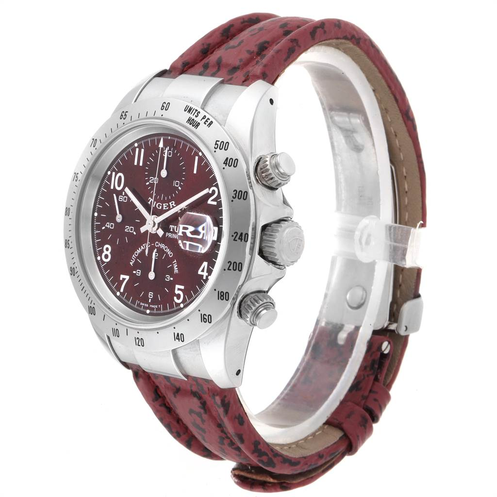 23079 Tudor Tiger Woods Chronograph Burgundy Dial Steel Mens Watch 79280P SwissWatchExpo