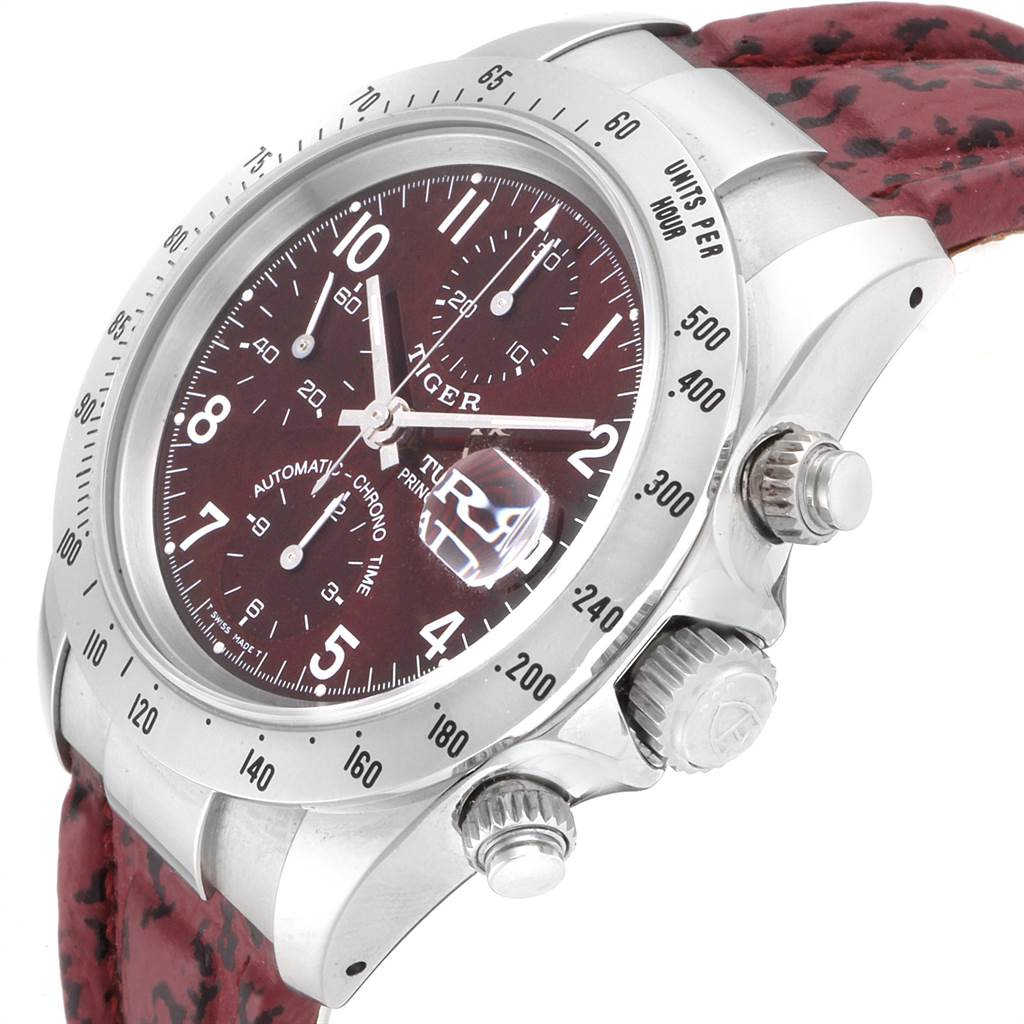 Tudor Tiger Woods Chronograph Burgundy Dial Steel Mens Watch 79280P SwissWatchExpo