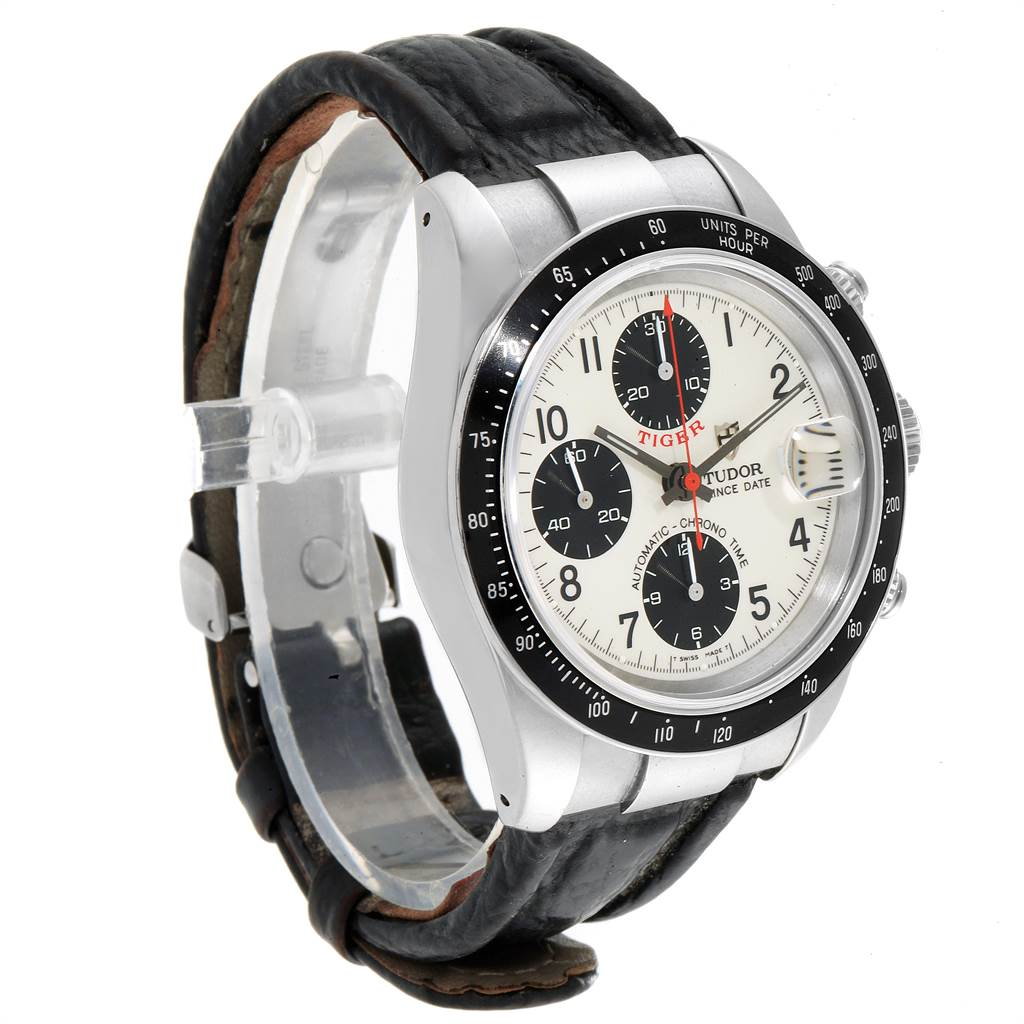Tudor Tiger Woods Prince Date Panda Dial Leather Strap Mens Watch 79260 SwissWatchExpo