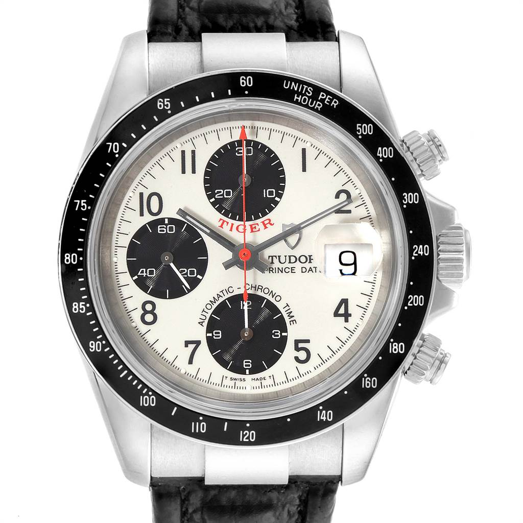 22641 Tudor Tiger Woods Prince Date Panda Dial Leather Strap Mens Watch 79260 SwissWatchExpo