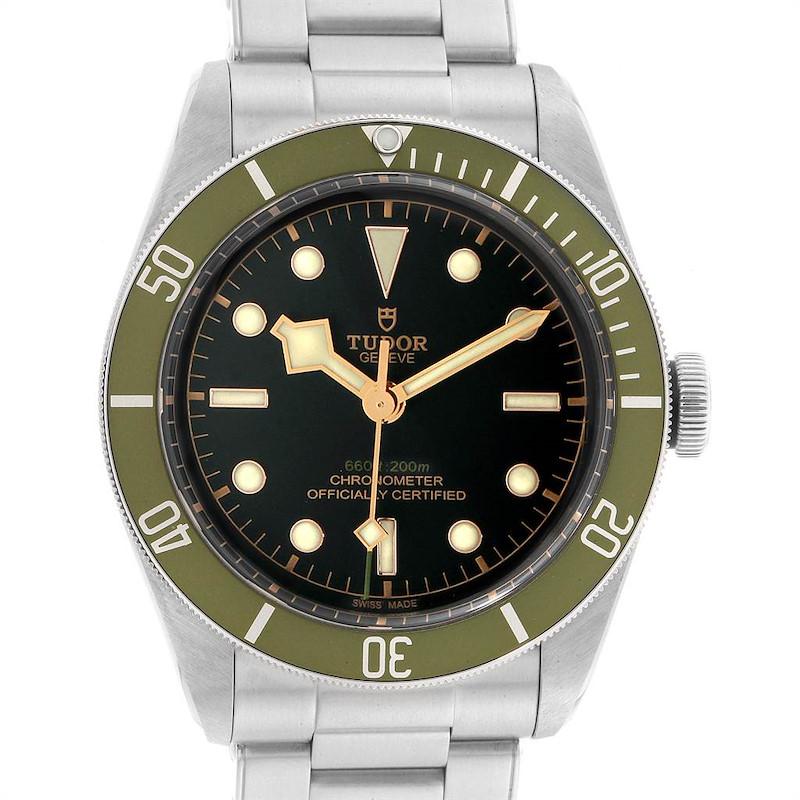 Tudor Heritage Black Bay Harrods Green Special Edition Mens Watch 79230G SwissWatchExpo