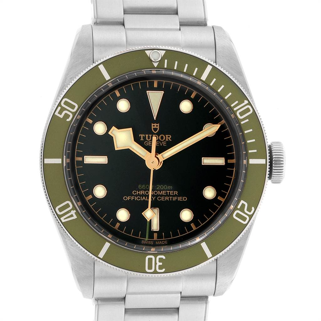 Tudor Heritage Black Bay Harrods Green Special Edition Mens Watch 79230G SwissWatchExpo