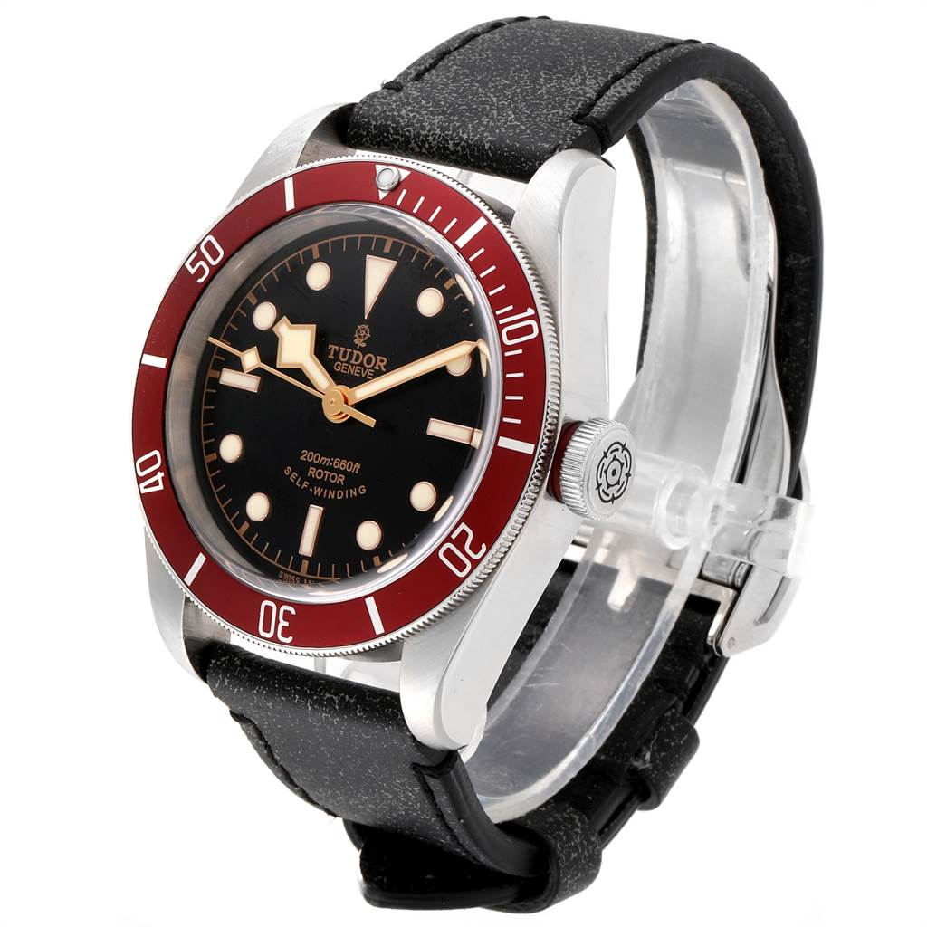 23745 Tudor Heritage Black Bay Steel Leather Strap Watch 79220 Box Papers SwissWatchExpo