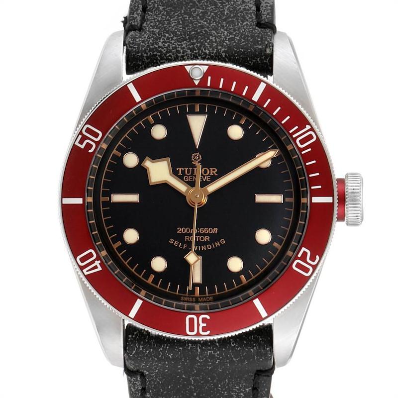 Tudor Heritage Black Bay Steel Leather Strap Watch 79220 Box Papers SwissWatchExpo