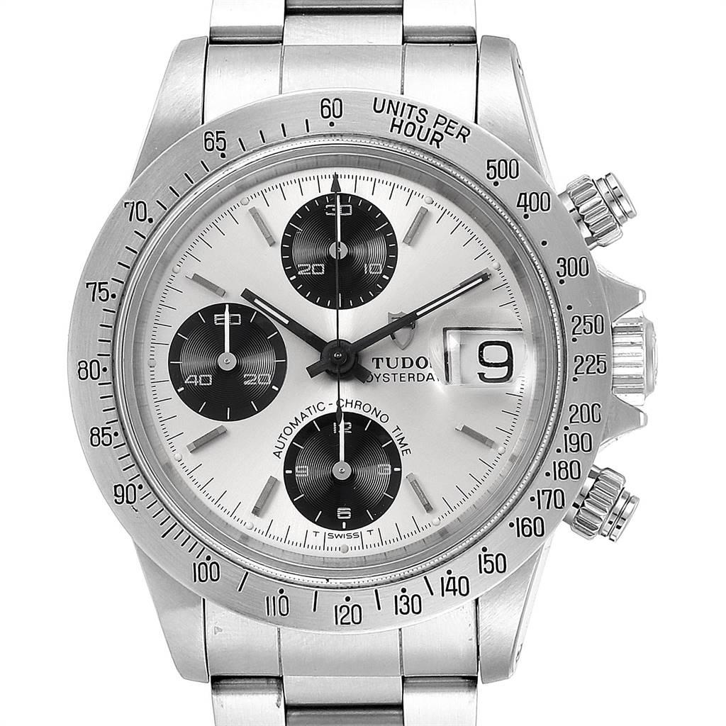 Tudor Prince Big Block Oysterdate Silver Vertical Panda Dial Watch 79180 SwissWatchExpo
