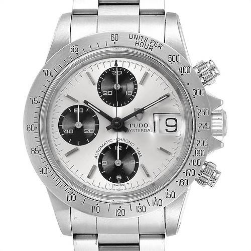 Tudor Prince Big Block Oysterdate Silver Vertical Panda Dial Watch 79180