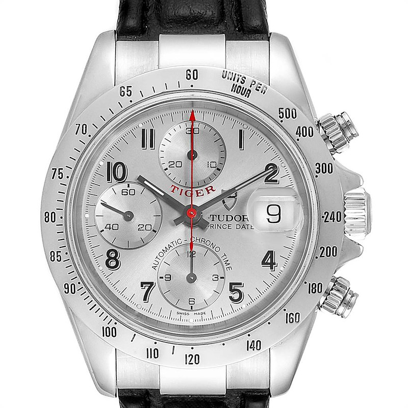 Tudor Tiger Woods Chronograph Silver Dial Steel Mens Watch 79280 SwissWatchExpo