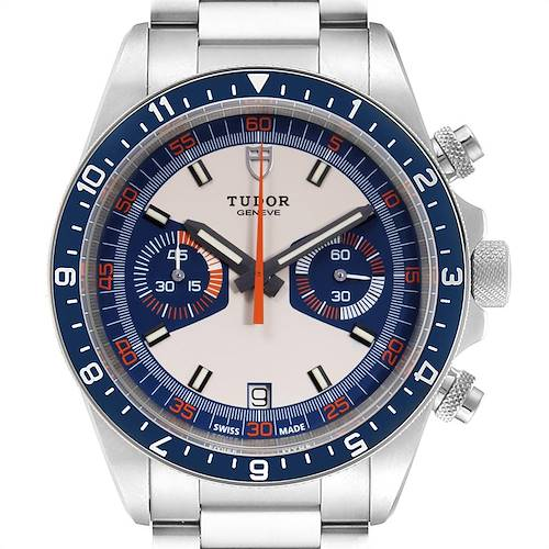 Photo of Tudor Heritage Chrono Blue Stainless Steel Mens Watch 70330 Box Card