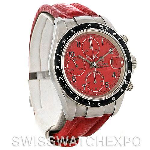 Tudor Tiger Woods Chronograph Steel Red Dial Watch 79260 SwissWatchExpo
