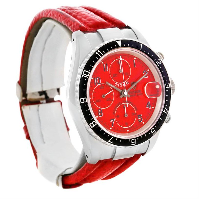 Tudor Tiger Woods Chronograph Steel Red Leather Strap Watch 79270 SwissWatchExpo