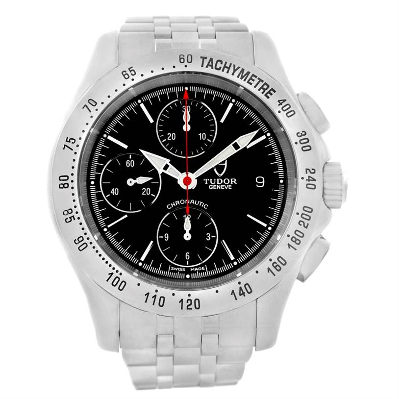 7396 Tudor Chronoautic Stainless Steel Black Dial Mens Watch 79380 SwissWatchExpo